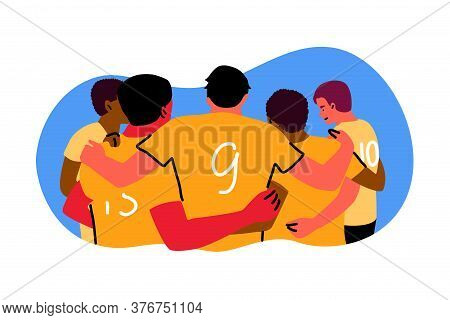 Sport, Teamwok, Celebration Concept. Rugby Or American Football Team Of Young Men Boys Standing In A