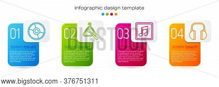 Set Line Cd Or Dvd Disk, Triangle Musical Instrument, Music Note, Tone And Headphones. Business Info