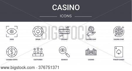 Casino Concept Line Icons Set. Contains Icons Usable For Web, Logo, Ui Ux Such As Spade, Casino Chip