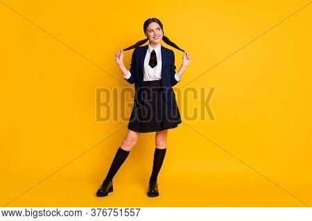 Full Size Photo Of Positive High School Teenager Touch Ponytails Look Copyspace Scholar Courses Wear