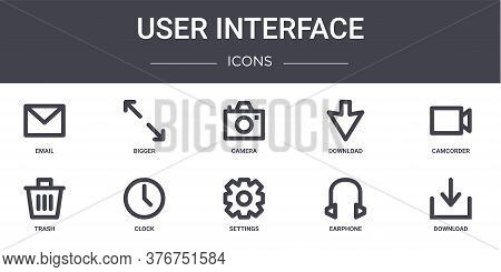 User Interface Concept Line Icons Set. Contains Icons Usable For Web, Logo, Ui Ux Such As Bigger, Do