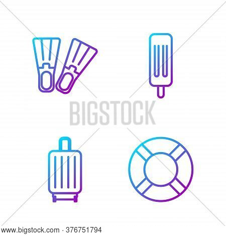Set Line Lifebuoy, Suitcase, Rubber Flippers And Ice Cream. Gradient Color Icons. Vector