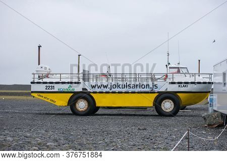 Jokulsarlon, Iceland - May 23, 2019: Amphibian Boat Is Prepared For A Tourist Cruise In The Jokulsar