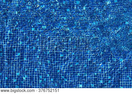 Abstract Pool Water Surface, Vibrant Blue Colors. Perfect Backdrop