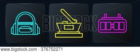 Set Line Sport Bag, Hockey Mechanical Scoreboard And Ice Hockey Cup Champion. Black Square Button. V