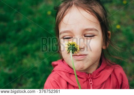 Portrait Of Cute Little Toddler Girl Smelling A Dandelion Yellow Flower Over Natural Green Backgroun