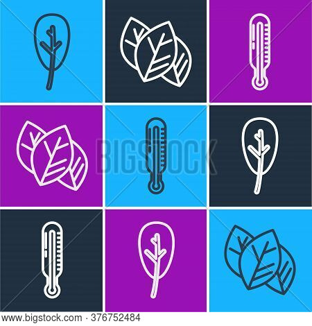 Set Line Leaf Or Leaves, Meteorology Thermometer And Leaf Or Leaves Icon. Vector
