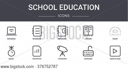 School Education Concept Line Icons Set. Contains Icons Usable For Web, Logo, Ui Ux Such As Notebook