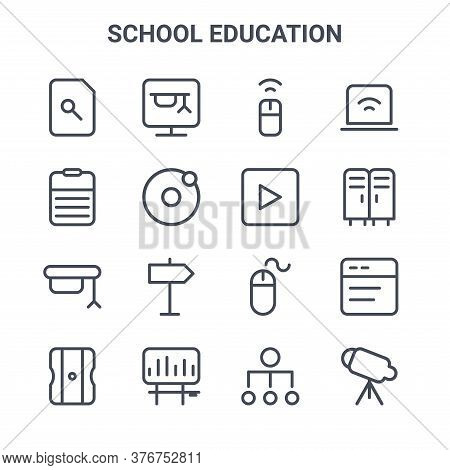 Set Of 16 School Education Concept Vector Line Icons. 64x64 Thin Stroke Icons Such As Online Course,