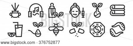 12 Set Of Linear Alternative Medicine Icons. Thin Outline Icons Such As Leech, Pills, Herb, Herbs, E