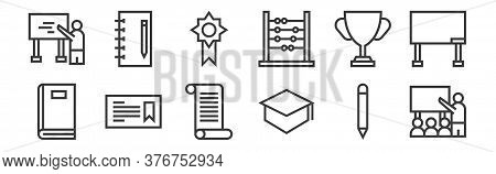 12 Set Of Linear Education Icons. Thin Outline Icons Such As Presentation, Mortarboard, Certificate,