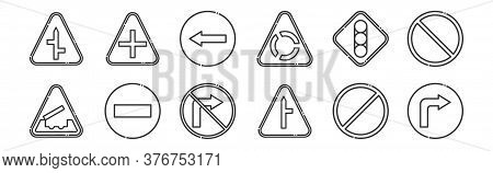 12 Set Of Linear Signaling Icons. Thin Outline Icons Such As Turn Right, Intersection, Forbidden, Tr