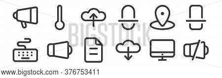 12 Set Of Linear Device Icons. Thin Outline Icons Such As Mute, Download, Sound, Gps, Upload, Temper