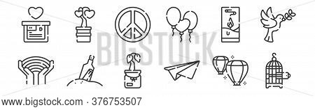 12 Set Of Linear Hope Icons. Thin Outline Icons Such As Bird Cage, Paper Plane, Message In A Bottle,