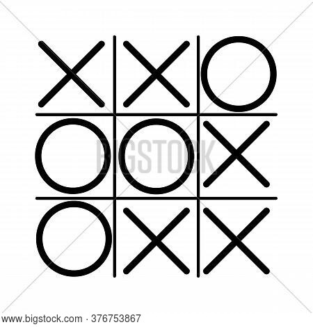 Tick Tack Toe.  Xo Game. Noughts And Crosses Board Game Icon Isolated.