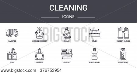 Cleaning Concept Line Icons Set. Contains Icons Usable For Web, Logo, Ui Ux Such As Air Refreshener,