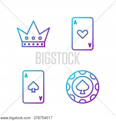 Set Line Casino Chips, Playing Card With Spades, King Playing Card And Playing Card With Heart. Grad