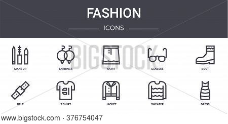 Fashion Concept Line Icons Set. Contains Icons Usable For Web, Logo, Ui Ux Such As Earrings, Glasses