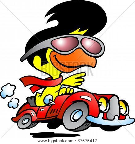 Hand-drawn Vector Illustration Of An Smart Chicken Driving A Sports Car