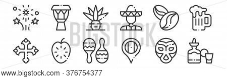 12 Set Of Linear Mexico Icons. Thin Outline Icons Such As Tequila, Mexico, Guanabana, Coffee Beans,
