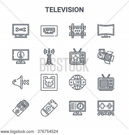 Set Of 16 Television Concept Vector Line Icons. 64x64 Thin Stroke Icons Such As Hdmi Port, Informati