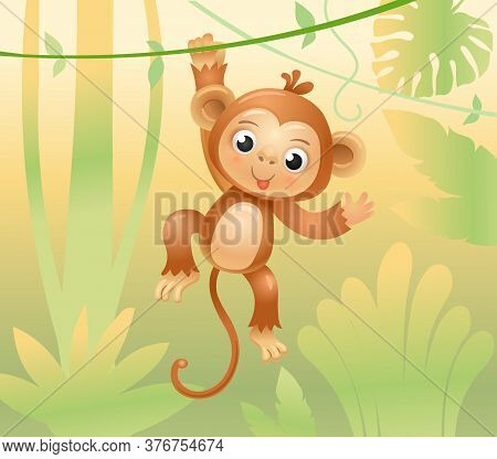 The Monkey Jumps On Branches And Vines. Cheerful Monkey. Animals In The Jungle. Joyful Monkey. Vecto