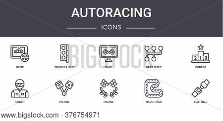 Autoracing Concept Line Icons Set. Contains Icons Usable For Web, Logo, Ui Ux Such As Traffic Light,