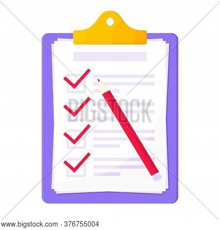 Clipboard With Complete Checklist Flat Style Design Icon Sign Vector Illustration Isolated On White