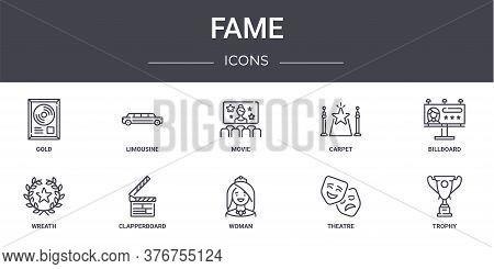 Fame Concept Line Icons Set. Contains Icons Usable For Web, Logo, Ui Ux Such As Limousine, Carpet, W