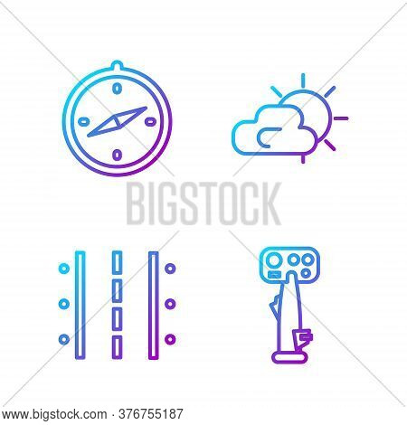 Set Line Aircraft Steering Helm, Airport Runway, Compass And Sun And Cloud Weather. Gradient Color I