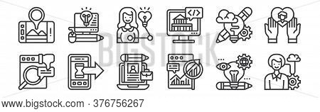 12 Set Of Linear Digital Transformation Icons. Thin Outline Icons Such As Characteristic, Long Term