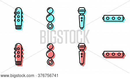 Set Line Dildo Vibrator, Dildo Vibrator, Anal Beads And Silicone Ball Gag With Belt Icon. Vector