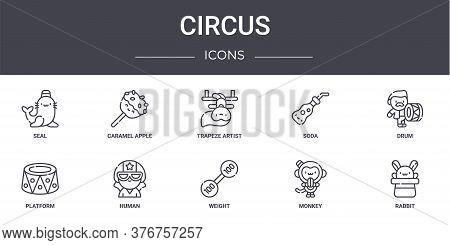 Circus Concept Line Icons Set. Contains Icons Usable For Web, Logo, Ui Ux Such As Caramel Apple, Sod