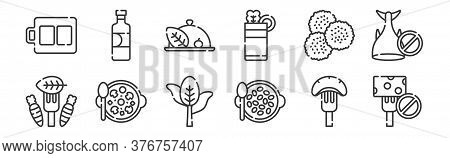 12 Set Of Linear Vegan Food Icons. Thin Outline Icons Such As No Cheese, Seeds, Mushroom, Legumes, V