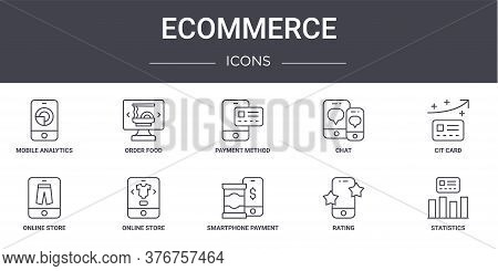 Ecommerce Concept Line Icons Set. Contains Icons Usable For Web, Logo, Ui Ux Such As Order Food, Cha