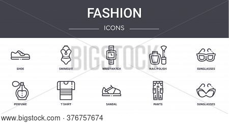 Fashion Concept Line Icons Set. Contains Icons Usable For Web, Logo, Ui Ux Such As Swimsuit, Nail Po