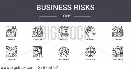 Business Risks Concept Line Icons Set. Contains Icons Usable For Web, Logo, Ui Ux Such As Executive,