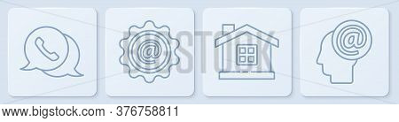 Set Line Telephone With Speech Bubble Chat, House, Mail And E-mail And Mail And E-mail. White Square