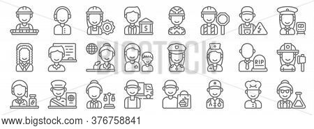 Key Workers Line Icons. Linear Set. Quality Vector Line Set Such As Scientist, Paramedic, Driver, Ph