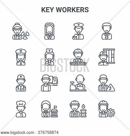 Set Of 16 Key Workers Concept Vector Line Icons. 64x64 Thin Stroke Icons Such As Judge, Police Offic
