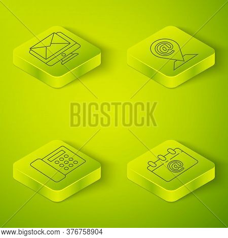 Set Isometric Location And Mail And E-mail, Telephone, Calendar With Email And Monitor And Envelope