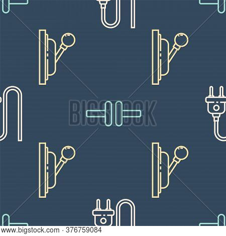 Set Line Electric Plug, Electrical Panel And Electric Circuit Scheme On Seamless Pattern. Vector