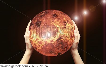 Two Female Hands Hold A Red-hot Globe On A Black Background.elements Of This Image Are Provided By N