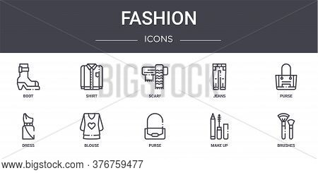 Fashion Concept Line Icons Set. Contains Icons Usable For Web, Logo, Ui Ux Such As Shirt, Jeans, Dre