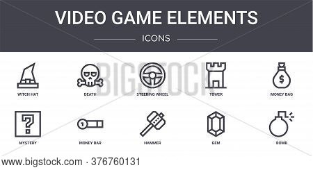 Video Game Elements Concept Line Icons Set. Contains Icons Usable For Web, Logo, Ui Ux Such As Death
