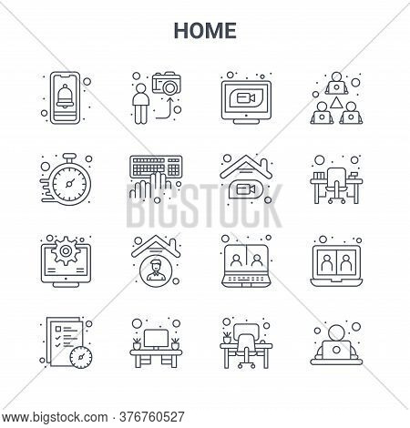 Set Of 16 Home Concept Vector Line Icons. 64x64 Thin Stroke Icons Such As Streaming, Watch, Office D