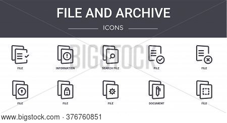 File And Archive Concept Line Icons Set. Contains Icons Usable For Web, Logo, Ui Ux Such As Informat