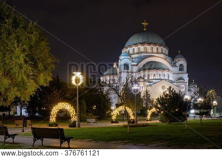 Belgrade / Serbia - November 16, 2018: Night View Of The Saint Sava Church On The Vracar Hill In Bel