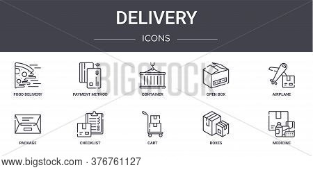 Delivery Concept Line Icons Set. Contains Icons Usable For Web, Logo, Ui Ux Such As Payment Method,