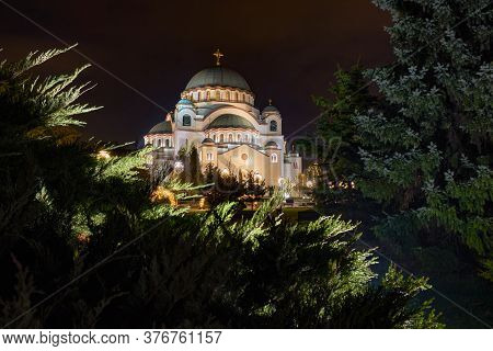 Night View Of The Saint Sava Church On The Vracar Hill In Belgrade, Serbia, One Of The World's Bigge